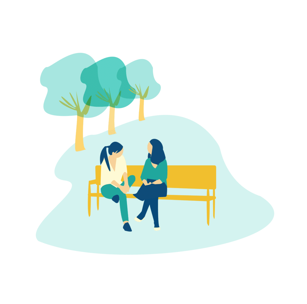 Chatting in a park illustration